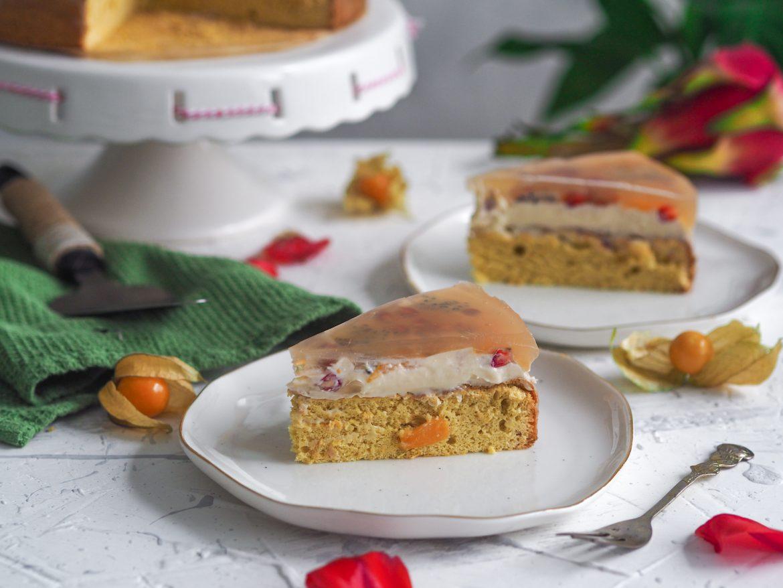 Bezlepková ovocná želatínová torta
